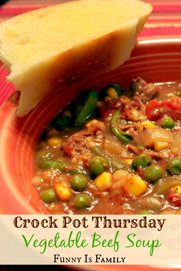 This Crockpot Vegetable Beef Soup recipe is an easy dinner idea, and a delicious way to eat your veggies!
