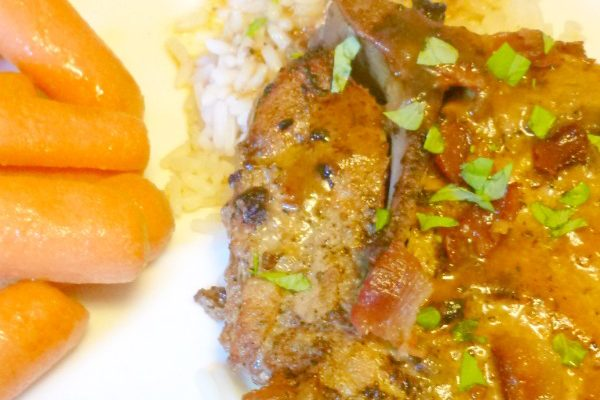 These crockpot smothered pork chops are an easy and delicious dinner idea!