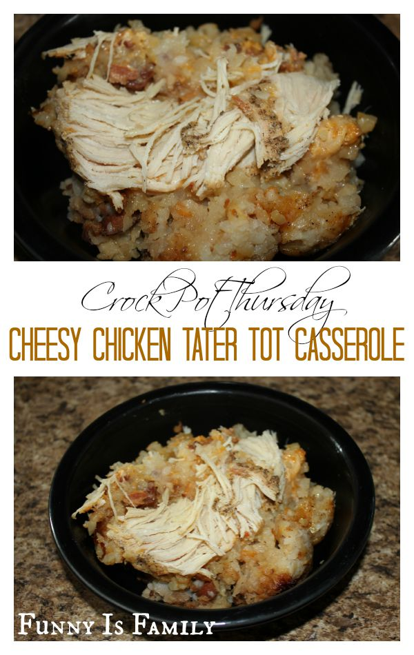 My kids went crazy for this quick and easy Crockpot Cheesy Chicken Tater Tot Casserole recipe!