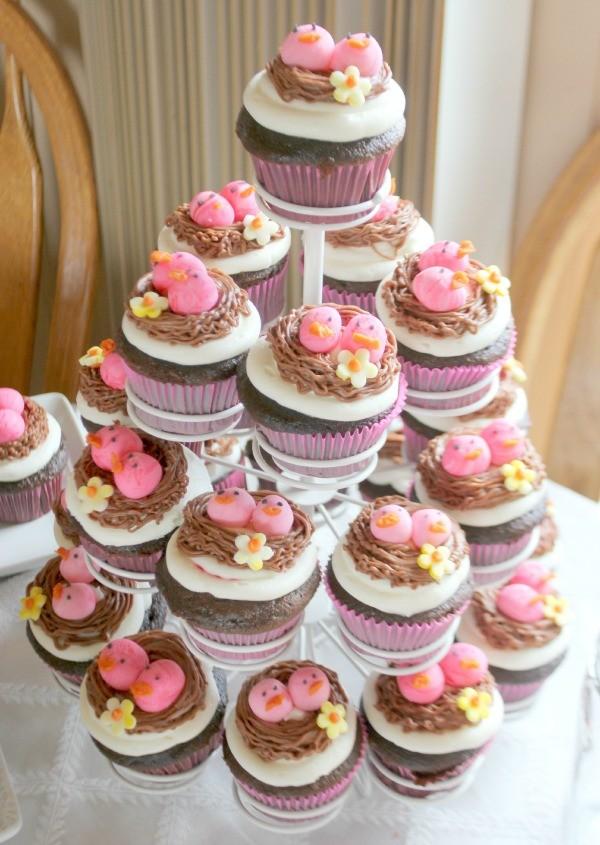 Bird-Themed Baby Shower Cupcakes