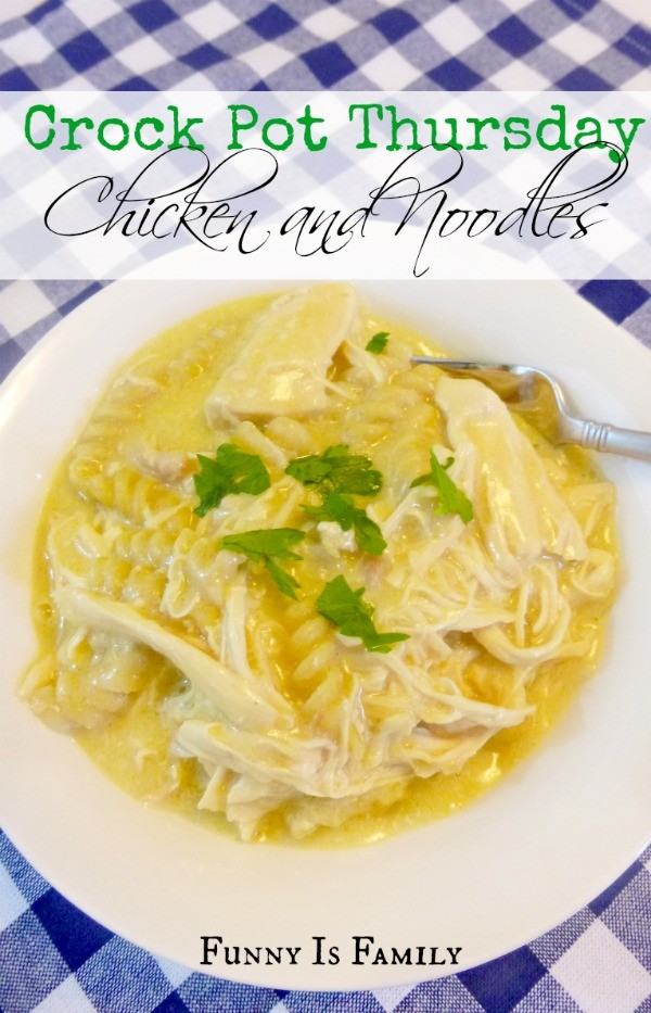 It takes less than 10 minutes to assemble this hearty Crockpot Chicken and Noodles recipe! If you're looking for comfort food, this easy recipe is just right!