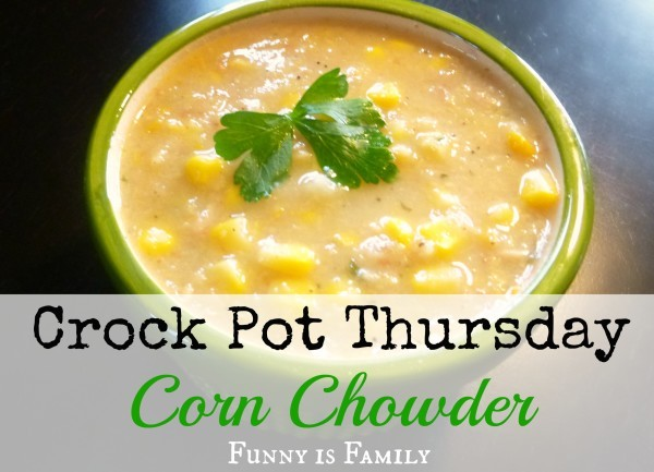This Crockpot Corn Chowder is a delicious and hearty soup you'll love! Try this quick and easy dinner idea today!