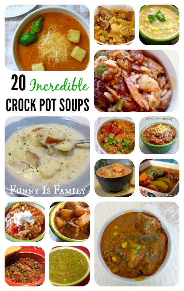 Over 20 crockpot soups and stew recipes your family will love! Slow cooker soups are a quick and easy way to get dinner on the table or feed a crowd! We've got chili, stew, jambalaya, minestrone, tomato soup, chowder, pasta soups, and more!