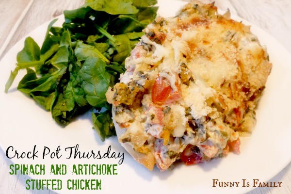 Crock Pot Spinach and Artichoke Stuffed Chicken