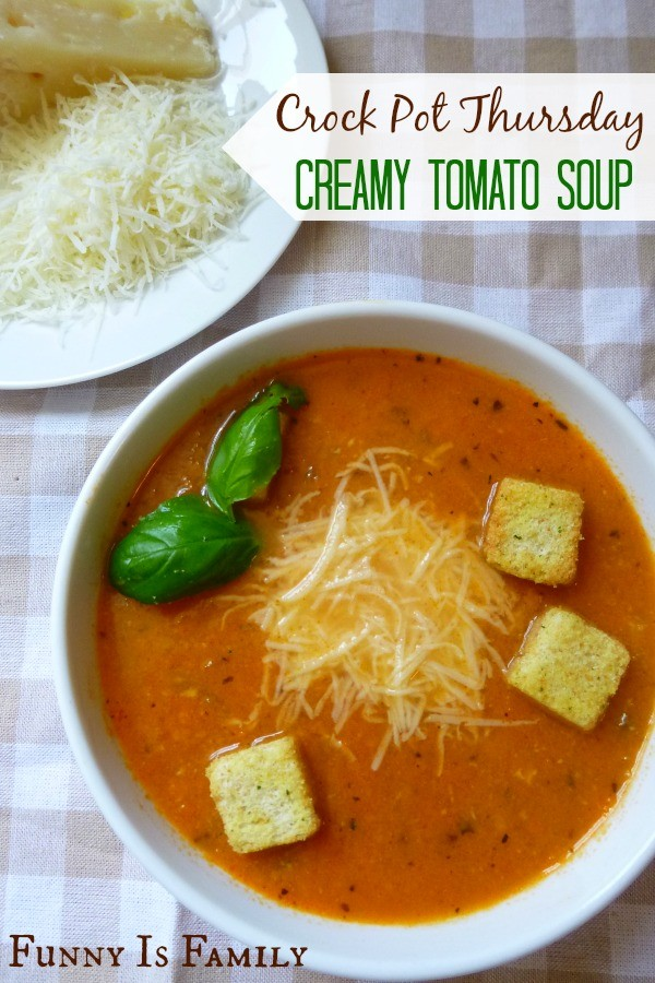 This Creamy Crockpot Tomato Soup tastes fancy, looks beautiful, and is a light lunch or dinner recipe!