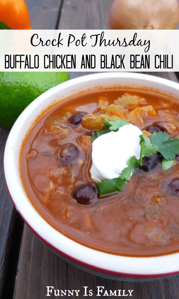 This Crockpot Buffalo Chicken and Black Bean Chili is a delicious and healthy dinner idea you're going to LOVE. The flavor is out of this world, and since it's chock full of healthy chicken, black beans, and vegetables, there will be no guilt when you go back for seconds or thirds. Add this slow cooker soup to your healthy recipe collection today!