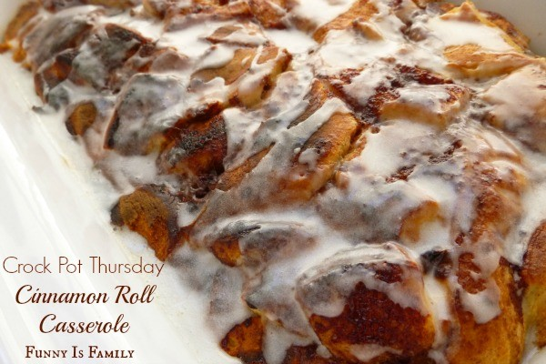 This Crockpot Cinnamon Roll Casserole recipe is a fun, easy, and delicious take on traditional cinnamon rolls! My family loved this easy breakfast idea!