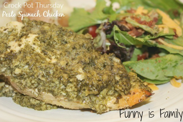This Crockpot Pesto Spinach Chicken is a breeze to assemble, is full of beautiful green stuff, and tastes great! Throw this easy chicken recipe in your slow cooker for a dinner idea you're going to love!
