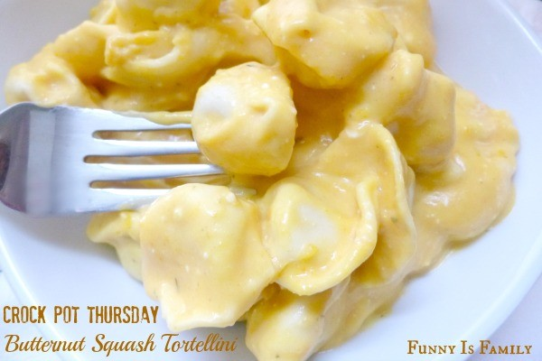 You will not believe how creamy and delicious this Crockpot Butternut Squash Tortellini recipe tastes!