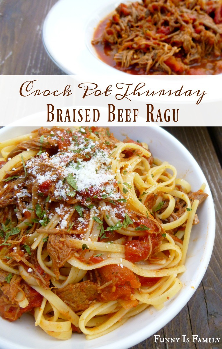Crockpot Braised Beef Ragu that is an easy menu idea perfect for a dinner party or just a simple and delicious family-friendly meal! If you have a slow cooker and a beef roast, you can make this!