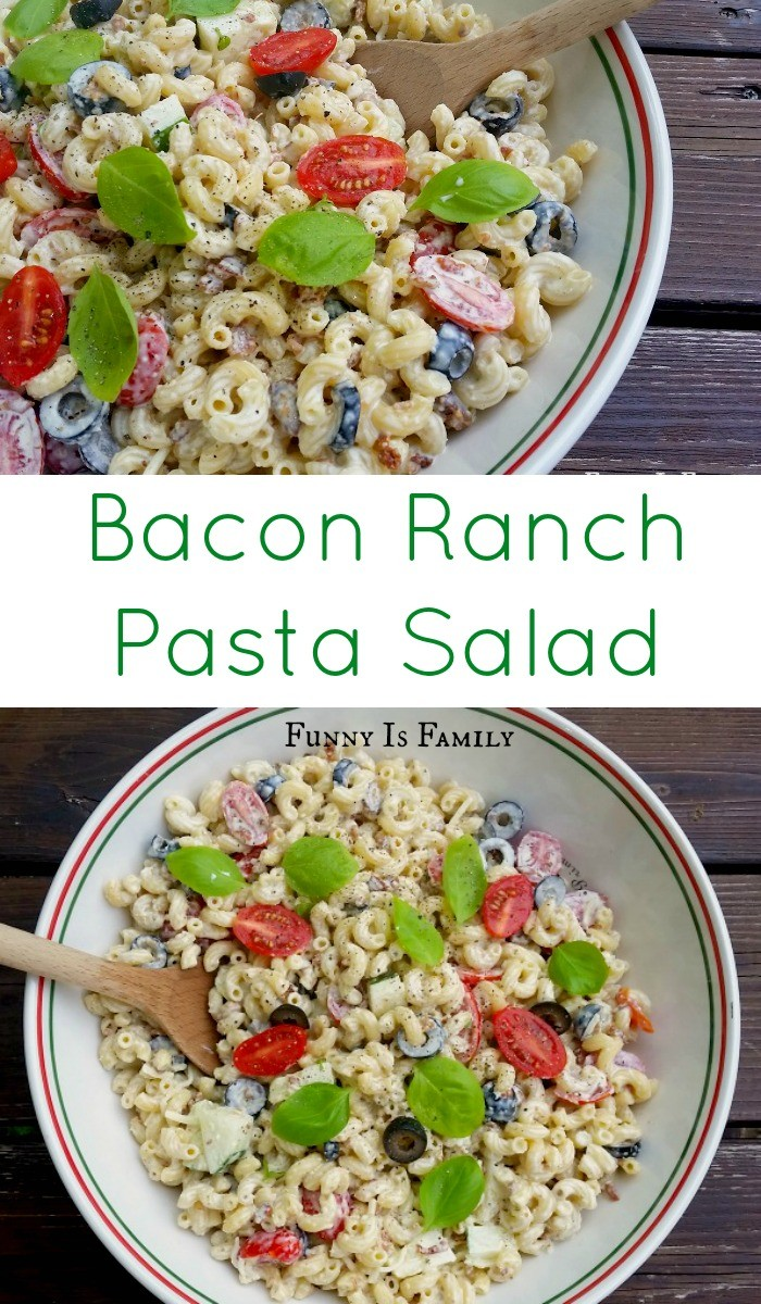 Easy to make and incredibly versatile, this Bacon Ranch Pasta Salad is the perfect side dish recipe for potlucks, bbqs, and parties!