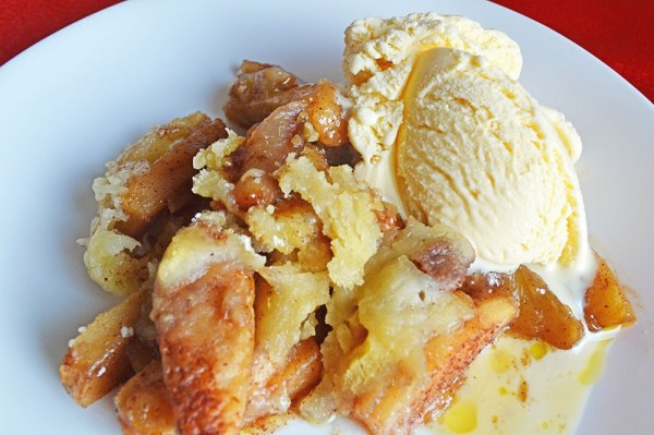 Easy Crockpot Apple Cobbler recipe perfect for fall or anytime of the year!
