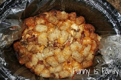 This Crockpot Cheesy Chicken Tater Tot Casserole is a crockpot chicken recipe everyone will love!