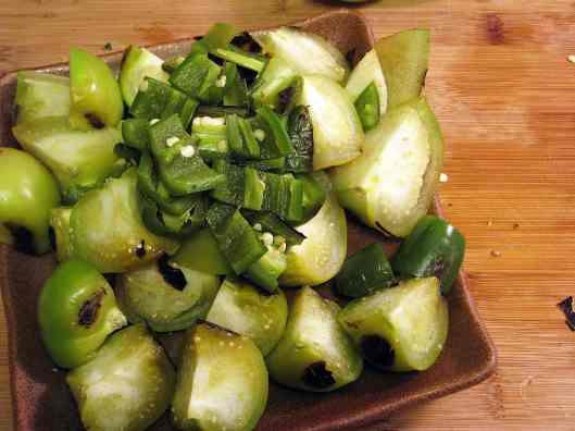 Set aside chopped charred veggies