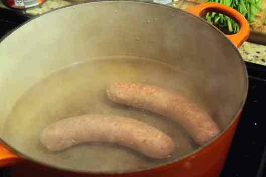Boil sausage for 5 minutes