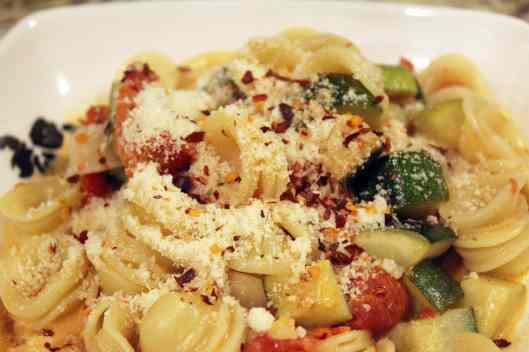 pasta with toppings