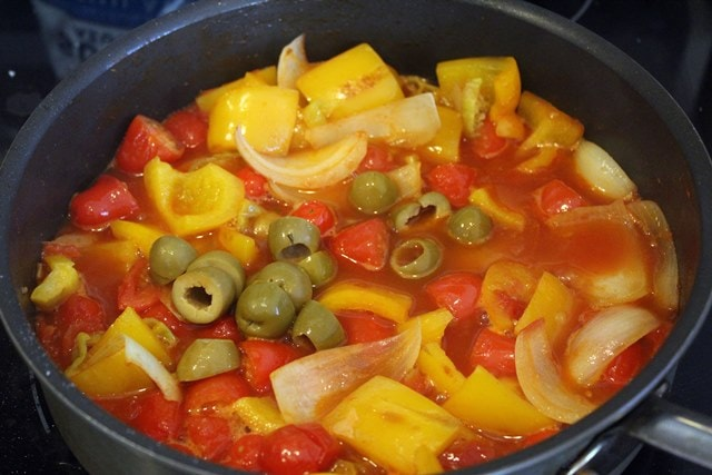 Add olives before simmering