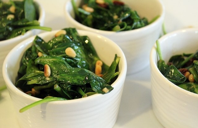 Bowls of spinach