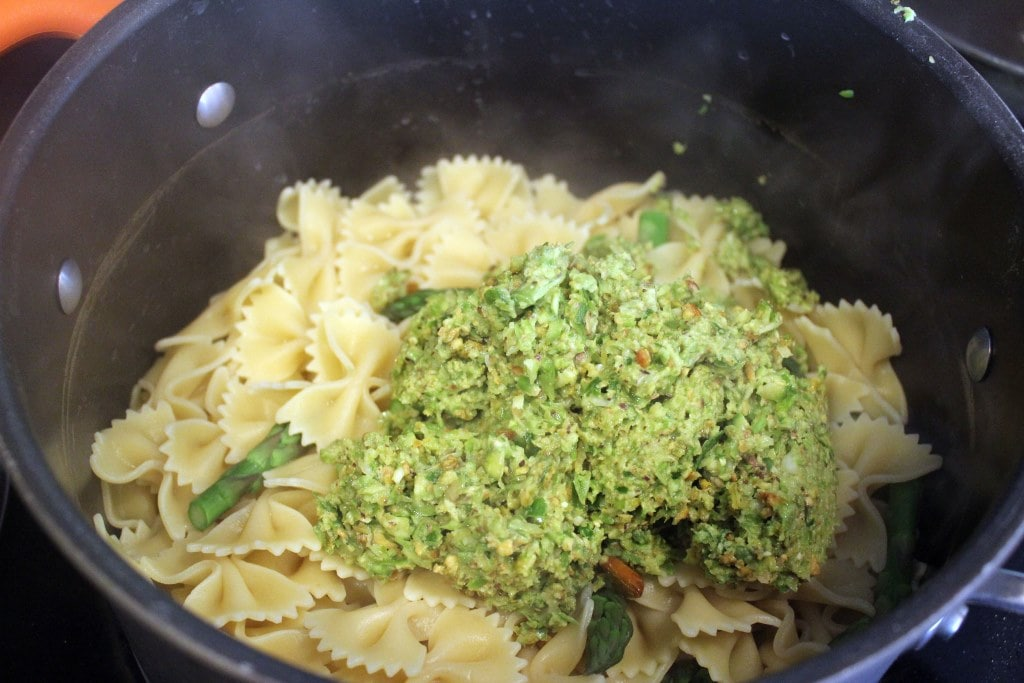 Add pasta and pesto to pot