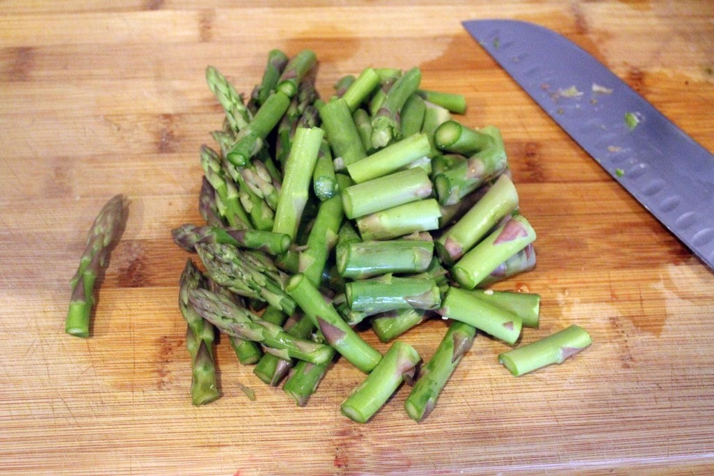 Cut asparagus into chunks