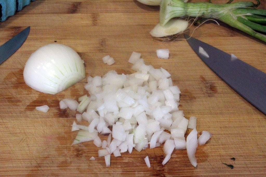 Finely dice onion