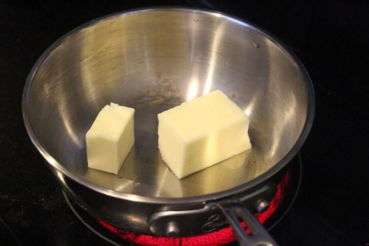 Add butter to small pan