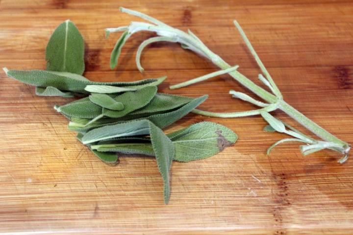 Strip sage leaves