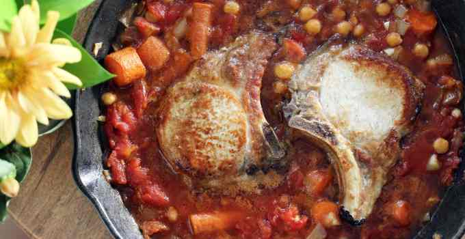 #tbt North African Skillet Pork Chops with Chick Peas