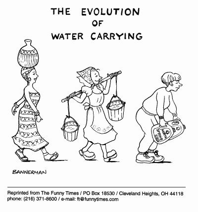 Funny evolution bannerman water  cartoon, April 12, 2000