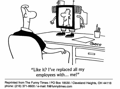 Funny employees computers goff  cartoon, July 26, 2000
