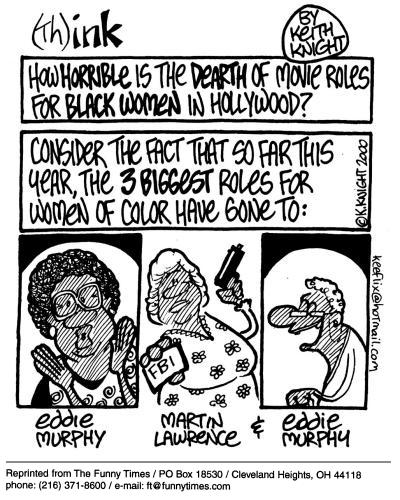 Funny Keith Knight black  cartoon, October 24, 2001