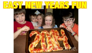 Keep New Years Simple with this fun and easy food idea- This particular pic was taken in 2013 to bring in 2014! The kids loved their New Years Pizza! Easy pizza recipe on this post too.
