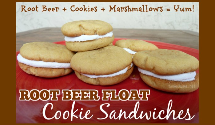Root Beer Float Cookie Sandwiches - made with marshmallows. So yummy!