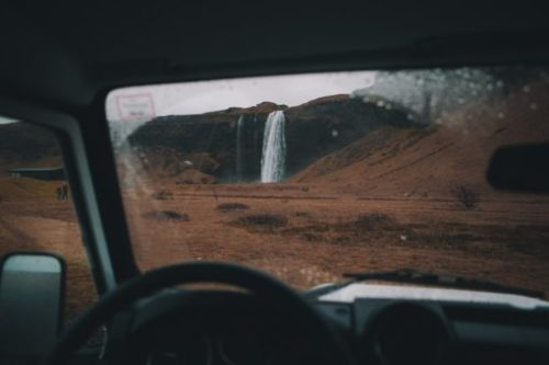 Land Rover Defender dashboard and waterfall