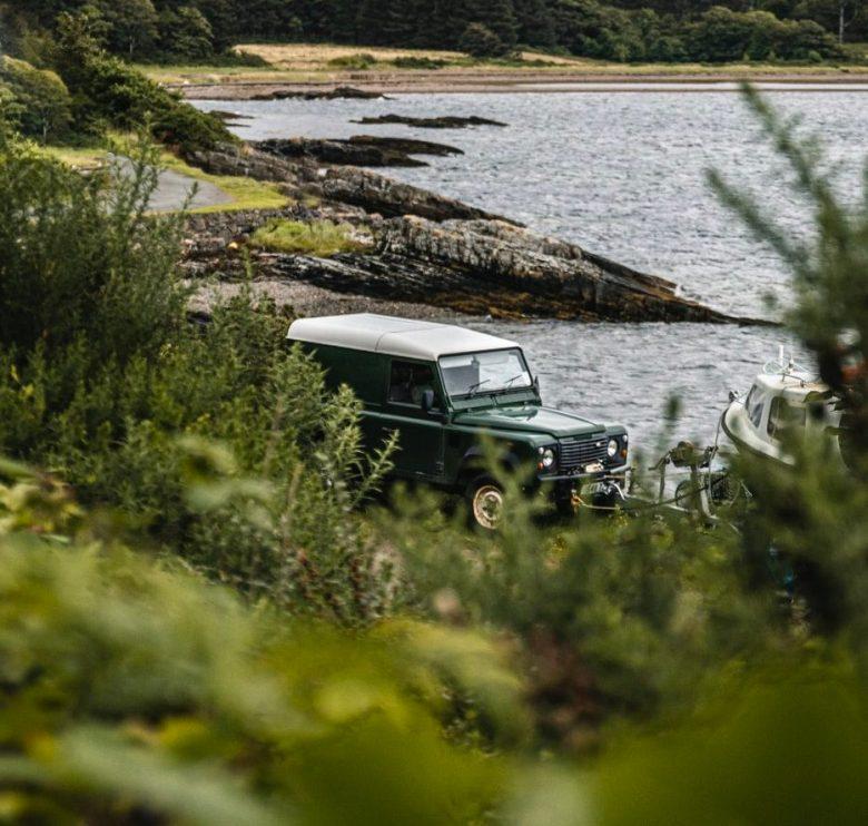 Land Rover Defender at lake