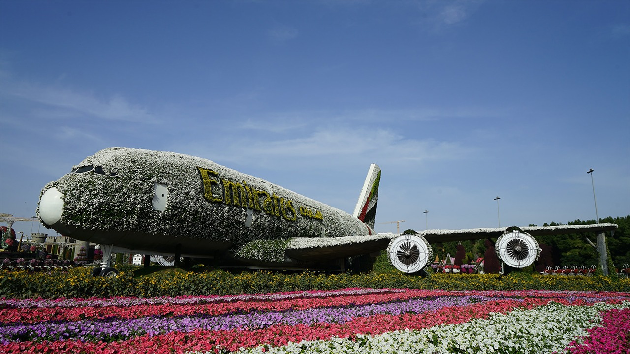 Emirates Airbus A380 decorated at Emirates Airbus A380 at Dubai Miracle Garden