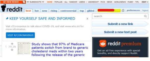 Reddit messages