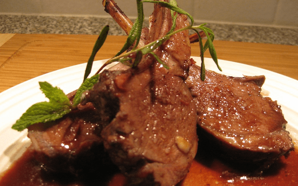 Roasted Rack of Lamb with Red Wine Sauce