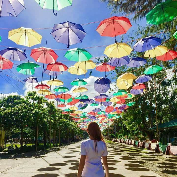 The famous hanging umbrellas