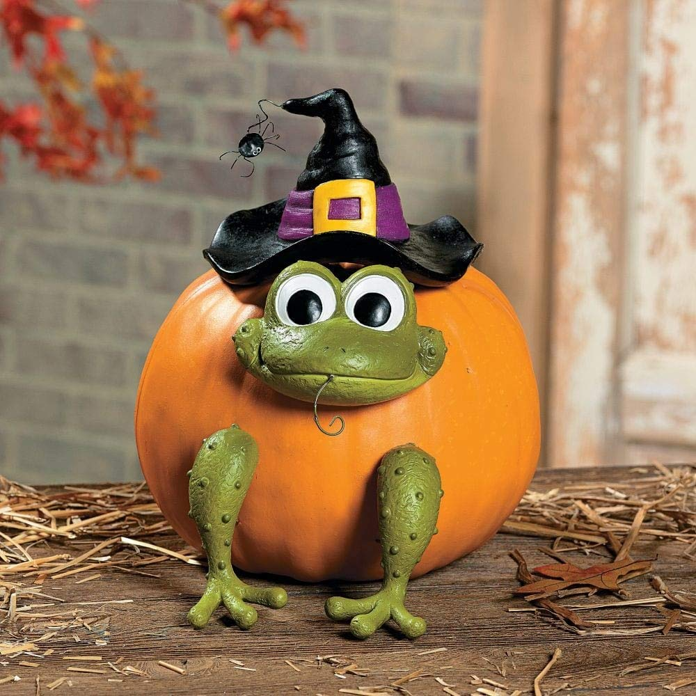 Halloween Frog Witch Pumpkin Poke In Head and Legs