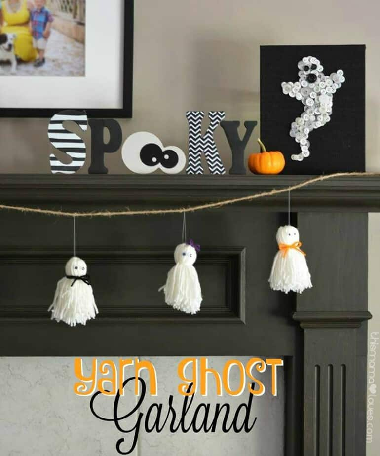 Yarn Ghost Garland Halloween Kids Craft
