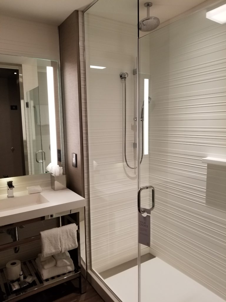 Bathroom with Rainfall Shower AC Hotel Downtown Boston