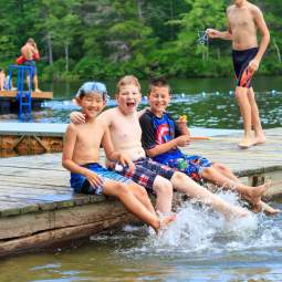 Boys swimming at camp takodah
