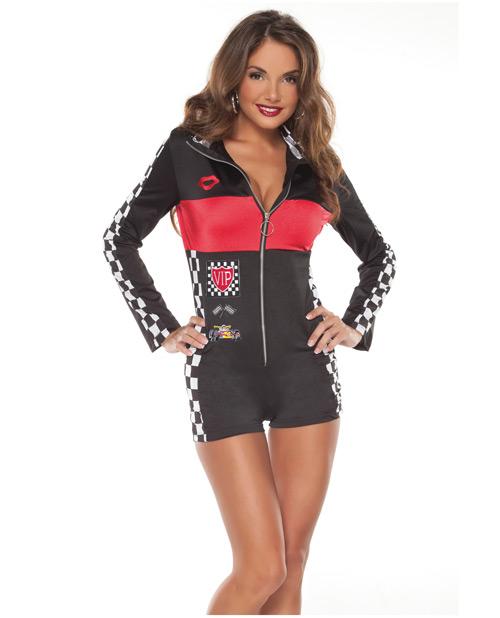 1 pc racer girl lycra racer jump suit w/front zipper o/s
