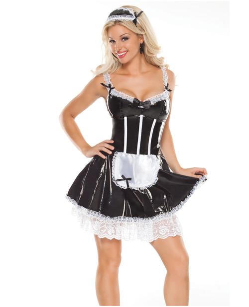 2 pc darque french maid dress w/attached lace crinoline & head piece black 1x/2x