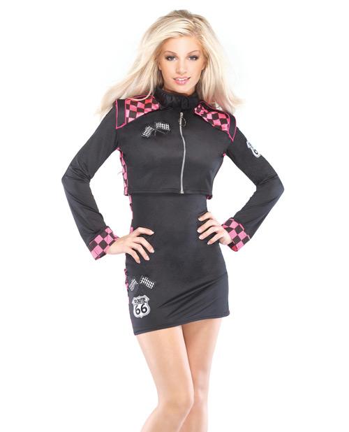 2 pc race car driver dress & cropped jacket black