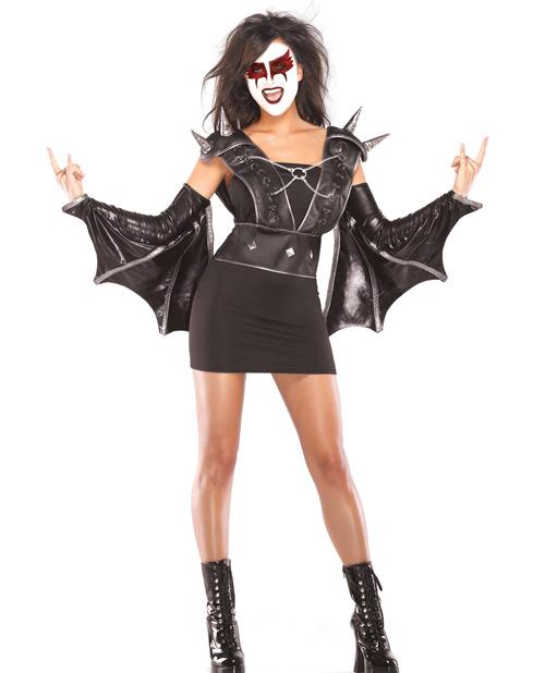 3 pc vampire rocker wet look vest, lycra tube dress & wet look wing arm bands black
