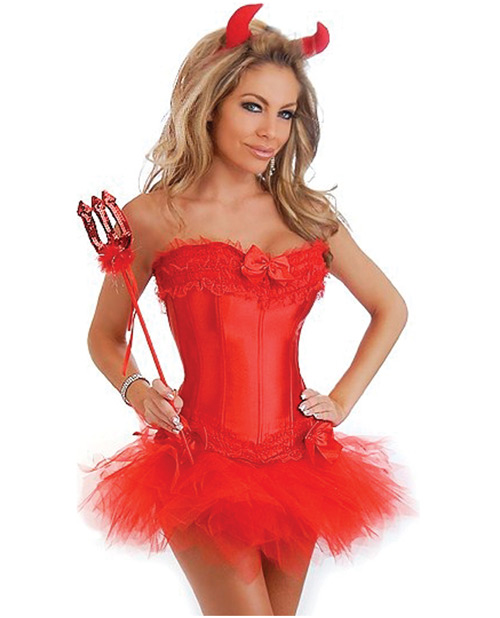 5 pc sexy devil corset, pettiskirt, thong, horns & pitchfork