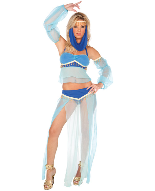 harem hottie dress, halter top, long skirt, arm sleeves & head piece blue