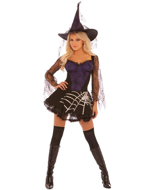 2 pc black magic dress w/spiderweb sleeves & hat black